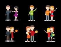 愉快的年轻夫妇和朋友字符集,庆祝与礼物 库存照片