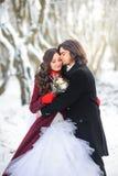 愉快的年轻夫妇在美好的冬天是更多猩红色 新郎轻轻地拥抱新娘 免版税库存照片