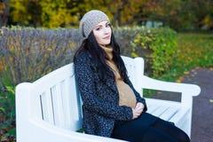 愉快的年轻美丽的孕妇坐长凳在秋天 库存照片