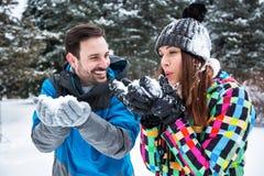 愉快的微笑的夫妇在一冬天雪天 库存照片