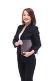 愉快的微笑的女商人画象有棕色文件夹的 图库摄影