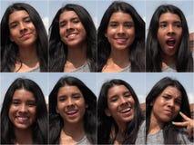 愉快的微笑的女性青少年的拼贴画 免版税库存图片