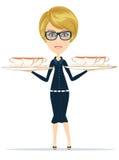 愉快的微笑的女性首席厨师侍者 免版税库存图片
