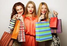 年轻愉快的微笑的妇女画象有购物袋的 免版税库存图片