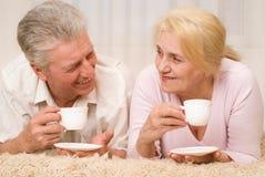 愉快的微笑的年长夫妇纵向  免版税库存照片