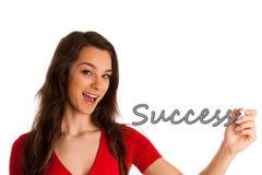 愉快的微笑的快乐的美好的年轻女商人文字或 库存图片
