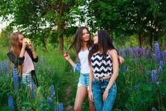 愉快的微笑的朋友画象室外的周末 获得三个美丽的年轻愉快的最好的朋友乐趣,微笑 免版税图库摄影