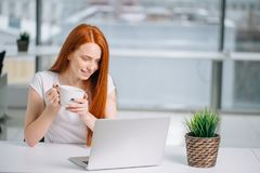 愉快的微笑的红头发人妇女与膝上型计算机和饮用的咖啡一起使用 免版税图库摄影