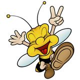 愉快的微笑的黄蜂 免版税库存图片