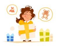愉快的微笑逗人喜爱的小女孩和大礼物盒 免版税库存图片