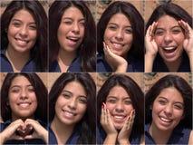 愉快的快乐的女性青少年的拼贴画 库存照片