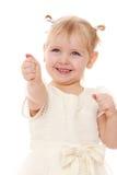 愉快的快乐的小女孩特写镜头延长  库存图片