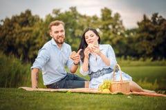 愉快的快乐的年轻家庭丈夫和他怀孕的妻子获得乐趣一起户外,在野餐在夏天公园 库存图片
