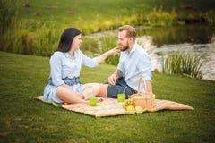 愉快的快乐的年轻家庭丈夫和他怀孕的妻子获得乐趣一起户外,在野餐在夏天公园 免版税库存照片