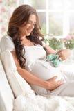 愉快的怀孕的微笑的妇女 免版税库存图片