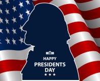 愉快的总统Day在美国背景中 与旗子的乔治・华盛顿剪影作为backround 库存图片