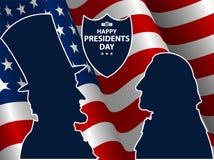 愉快的总统Day在美国背景中 与旗子的乔治・华盛顿和亚伯拉罕・林肯剪影作为背景 免版税库存图片