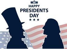 愉快的总统Day在美国背景中 与旗子的乔治・华盛顿和亚伯拉罕・林肯剪影作为背景 库存例证