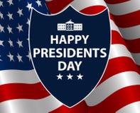 愉快的总统Day在美国背景中 与旗子的Shield总统剪影作为背景 图库摄影