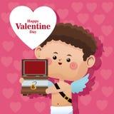 愉快的情人节丘比特木胸口桃红色心脏bakcground 免版税库存图片