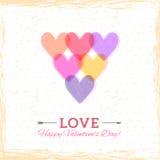 愉快的情人节卡片。心脏立体声效应。de的模板 免版税图库摄影