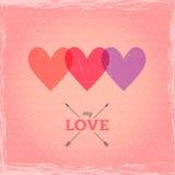 愉快的情人节卡片。心脏立体声效应。de的模板 免版税库存照片