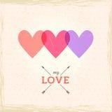 愉快的情人节卡片。心脏立体声效应。de的模板 库存图片