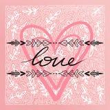 愉快的情人节卡片,印刷术,与心脏的背景- 库存图片