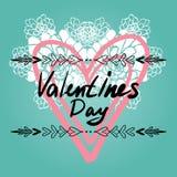 愉快的情人节卡片,印刷术,与心脏的背景- 库存照片