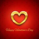 愉快的情人节卡片,在红色背景的金黄心脏, 库存图片