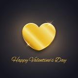 愉快的情人节卡片,在黑暗的背景的金黄心脏 免版税库存照片