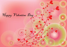 愉快的情人节在甜桃红色背景中 免版税库存照片