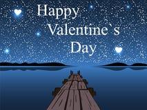 愉快的情人节夜水天空心脏星 库存图片