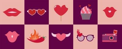 愉快的情人节套传染媒介象或背景 免版税库存照片