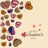 愉快的情人节庆祝的五颜六色的心脏 库存照片