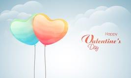 愉快的情人节庆祝的心形的气球 免版税库存图片