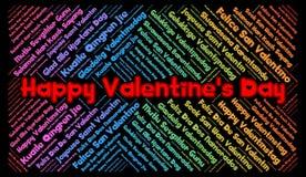 愉快的情人节用不同的语言措辞云彩 向量例证