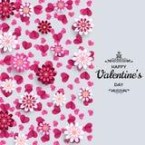 愉快的情人节背景 横幅的,贺卡,飞行物好设计模板 纸艺术花和心脏 皇族释放例证