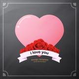 愉快的情人节装饰靠记意和在黑板背景的玫瑰色花构造减速火箭的葡萄酒样式 免版税库存照片