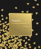 愉快的情人节金背景 金黄心脏、金黄框架和金黄文本 创造的贺卡模板 免版税图库摄影