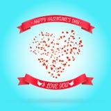 愉快的情人节问候或邀请卡片 免版税库存照片