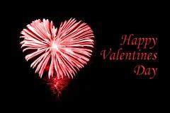 愉快的情人节,在心脏的形状的红色烟花 库存图片
