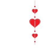 愉快的情人节-红色心脏-背景-贺卡 免版税库存照片