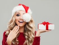 愉快的惊奇的圣诞节妇女时装模特儿 免版税库存图片