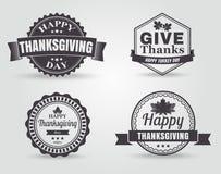 愉快的感恩传染媒介证章和标签 库存图片