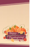 愉快的感恩卡片用南瓜,背景,海报 免版税库存图片