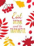 愉快的感恩天印刷术海报 吃,饮料并且是感激的 向量例证
