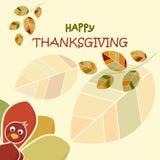 愉快的感恩天概念 与五颜六色的叶子的滑稽的五颜六色的火鸡横幅 库存图片