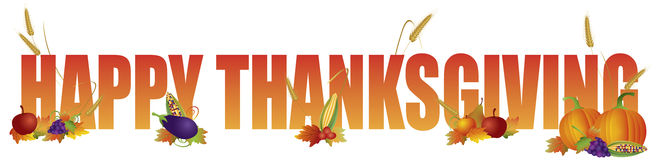 愉快的感恩文本用水果和蔬菜例证 库存照片