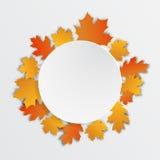 愉快的感恩标签美丽的槭树叶子 免版税库存照片